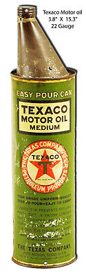VINTAGE ANTIQUE Style Metal Sign Texaco Oil Can Cutout 3x15