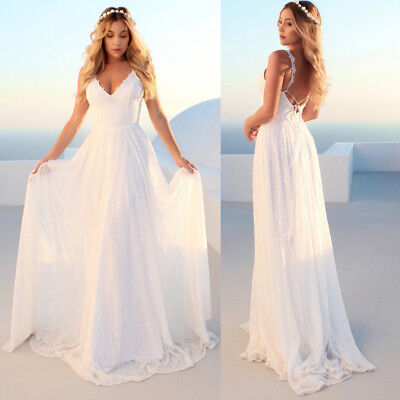 Womens Casual Sleeveless Strappy V-Neck Lace Cocktail Prom Wedding Long Dress HO