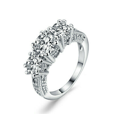 Fashion 3-stone CZ Wedding Engagement Ring for Women Girl