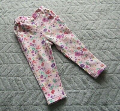 Baby Girls Cotton Light Pink Floral Pattern Trousers (9-12 Months)