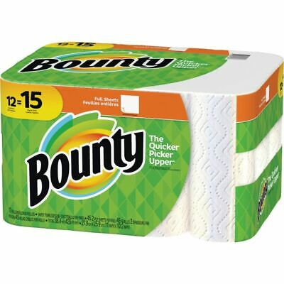 Bounty Paper Towel Rolls - 2 Ply - 45 Sheets/Roll - White - Absorbent - For Kitc