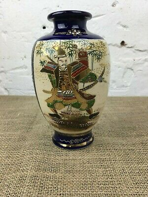Antique Hand Painted Japanese Satsuma Moriage Warrior Cobalt Blue Pottery Vase