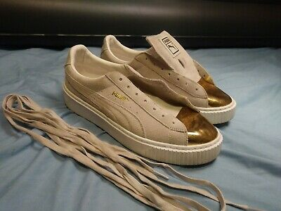 7d33689ee1 PUMA SUEDE PLATFORM White and Gold Women's Size 6 - $34.00 | PicClick