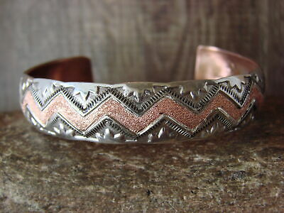 Navajo Indian Hand Stamped Copper /& Sterling Silver Bracelet by Etsitty