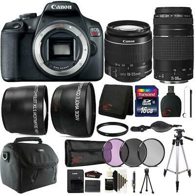 Canon EOS Rebel T7 24.1MP DSLR Camera + 18-55mm + 75-300mm Lens Accessory Bundle