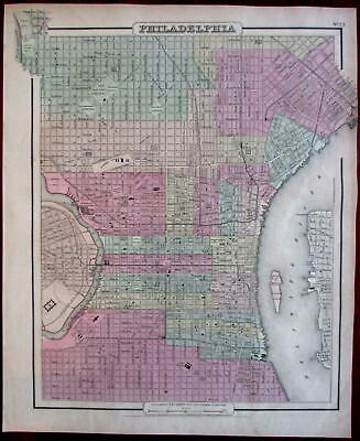 Philadelphia PA 1855 Colton fine city plan hand colored large detailed