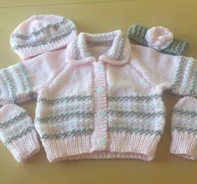 New Hand Knitted Baby Girl Cardigan Set Cardigan Hat Headband & Gloves 0/3 Month