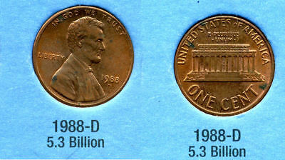 1988 D ABE Lincoln Memorial AMERICAN PENNY 1 CENT US U.S AMERICA ONE COIN #B1