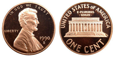 1990 S GEM BU PROOF Lincoln Memorial BRILLIANT UNCIRCULATED PENNY US COIN PF