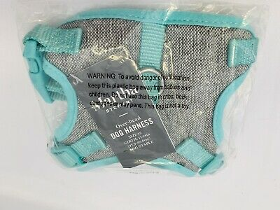 "Martha Stewart GreyTweed/Aqua Over-Head Dog Harness Size 12 Girth 11-14"" S"