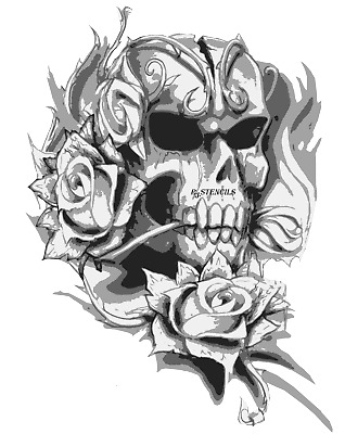 Multilayer STEP BY STEP airbrush stencil SKULL AND ROSES 4