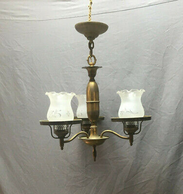 VTG Mid Centuary Brass 3 Light Chandelier Frosted Shades With Grapes 189-19L