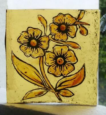 Stained Glass - Kiln fired amber painted stained flower fragment piece pane