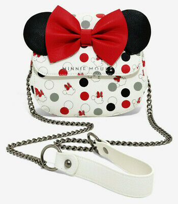 2578407044c3 Loungefly Disney Minnie Mouse bow polka dot crossbody bag handbag satchel  purse