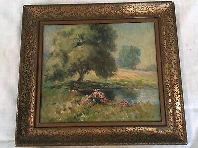 "Painting By Clifford Harrison Strohl Oil On Wood ""The Old Willow"" 1920 11 X 9.5"""