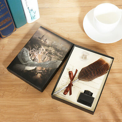 Cursed Child Feather Quill Ink Pen HP Sealing Wax Diary Xmas Gift Tips Box Set !