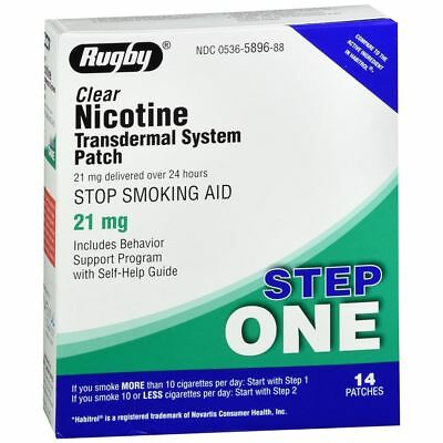 Rugby Nicotine Transdermique Système Patches Step One 21 MG Transparent - 14