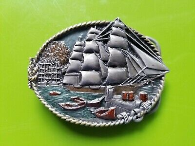 Vintage 1983 19th Century Sailing Ships Belt Buckle V-41 Kipling Poem Enamel