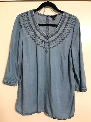 a4c1c0bb75c INTRO Women's Size Medium Peasant Top Blouse Embroidered Blue Denim Chambray