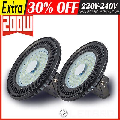 200W 2 Pack UFO LED High Bay Light Lamp Factory Warehouse Gym Industrial Shed