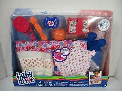Baby Alive New Mommy Kit 10 Piece Set Diapers Feeding Bag Toys Wipes Hasbro New