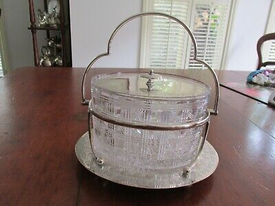 Superb Antique or Vintage Crystal Silver Plate Biscuit Holder Barrel Registered