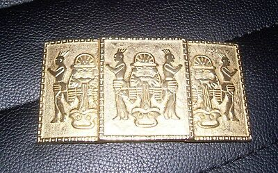 vintage Nan Lewis American Tribal themed belt buckle-1980's