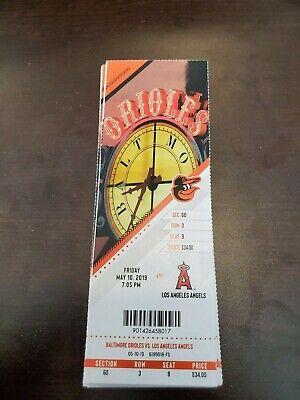 Trout HR - Baltimore Orioles Angels MINT Season Ticket 5/10/19 2019 MLB Stub