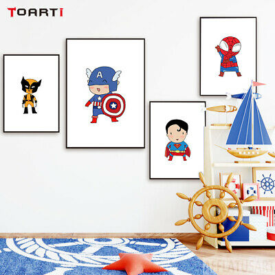 11 Styles Kids Wall Poster Picture Super Hero Super Man Cartoon Canvas Painting