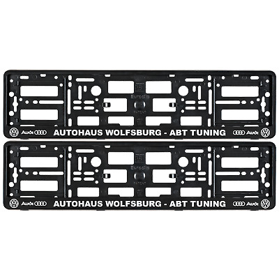 2X Number Plate Surrounds Holder Frame FOR AUDI VW ABT TUNING AUTOHAUS WOLFSBURG