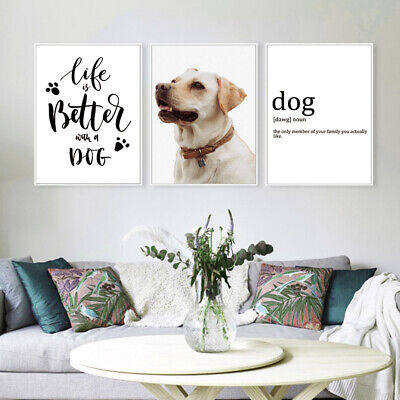 3 Pcs Animal Canvas Painting Dogs Quotes Art Print  Wall Hanging Modern Decor