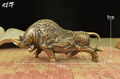 """7.5""""China Old Brass Handwork Carving Bullfight Cow Wear Dragon Lotus Statue"""