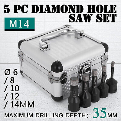 5PCS Diamond Holesaw Set Ø 6/8/10/12/14mm M14 tiles M14 thread Vacuum Brazed