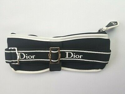 VINTAGE DIOR LOGO BLACK & WHITE ZIPPERED SUNGLASS POUCH CASE w CLEANING CLOTH