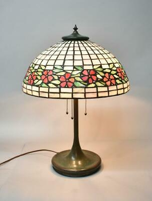 Antique Leaded Glass Lamp with Floral Design by Unique Lamp Co.