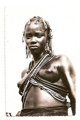 Africa, Belgian Congo belge, Nude native woman, danseuse Sango, real photo, 1950
