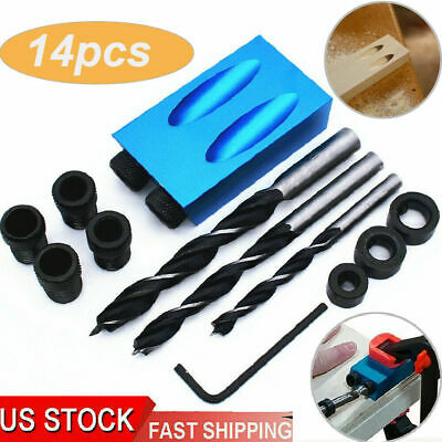 Woodworking Pocket Hole Screw Jig Adapter Drill Set Carpenters Wood Joint US
