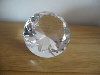 Stunning Crystal Cut Multi Faceted Diamond Shaped Paperweight, Weight 665g VGC