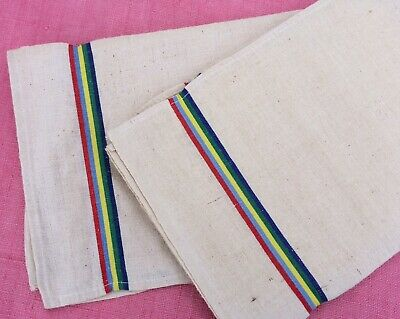 Pair Vintage French Linen Metis Torchon Tea Towel Red Blue Green Yellow Stripes