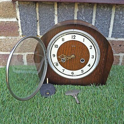 Smiths Enfield 8 Day Strike Art Deco Mantle Clock - Working BUT Needs Attention