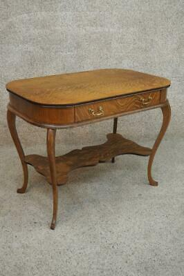 Authentic Victorian Gorgeous Tiger Oak Antique Library Desk Side End Sofa Table