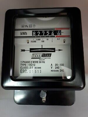 AMAM kWh Electric Meter Usage Vintage Electricity Meter Single Phase 20-100Amp