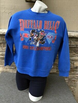 10b6a654 VINTAGE BUFFALO BILLS Sweatshirt Mens XL Blue Hoodie Throwback Logo ...