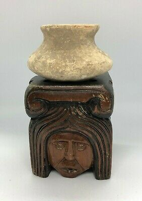 Ancient Pre-Columbian Clay Pottery & Vintage Ethnic Carved Wood Signed Sculpture