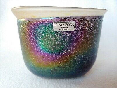 KOSTA BODA  Swedish Signed Iridescent Art Glass Vase Bowl Sweden Bertil Vallien