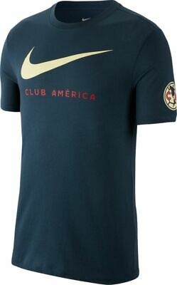 7f66bf7ddfa Nike Men s Club America Swoosh T Shirt (Navy Yellow) BQ7676 ...