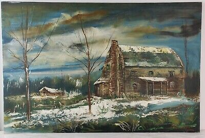 "Oil Painting on Canvas Winter Cabin Landscape Unframed Art Decor (24"" x 36"")"