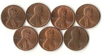 United States 1982 cents, all seven large/ small date, copper and zinc combos