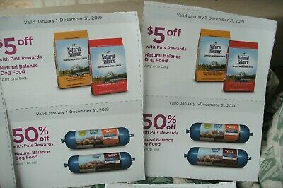 Natural Balance Dog Food Coupons $5.00 off Dry & 50% off Wet (2 sets of ea)    P