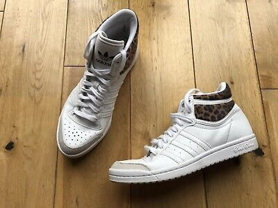 promo code e602a f4915 Adidas Top Ten Sleek Series White With Leopard Trim Hi Tops Size 3.5 RARE